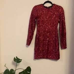 Red Sequin Cocktail Mini Dress